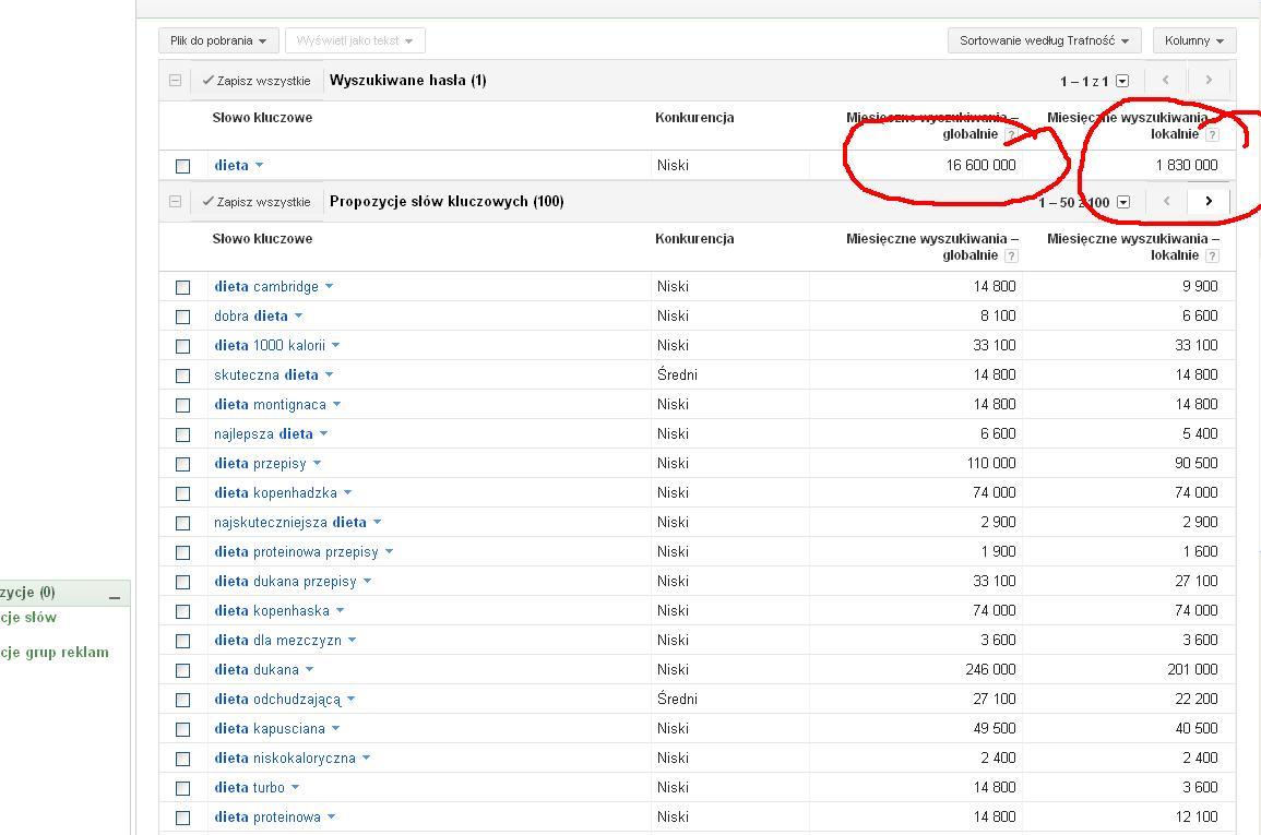 wyniki wyszukiwania słowa dieta - google key word tool
